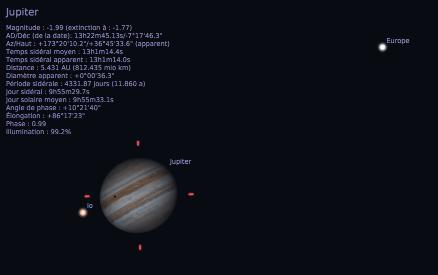 Transit de l'ombre de Io sur Jupiter, précédant de peu celui d'Io lui-même, tel qu'il était observable depuis la Terre dans un télescope 3 mois avant l'opposition, le 8 janvier 2017, vers 6h30