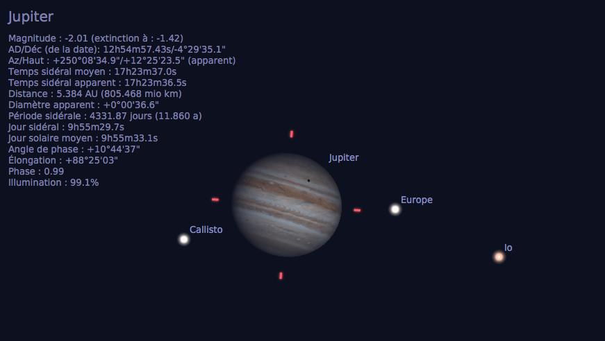 Transit de l'ombre d'Europe sur Jupiter, tel qu'observable depuis la Terre dans un télescope 3 mois après l'opposition, le 8 juillet 2017, vers 0h