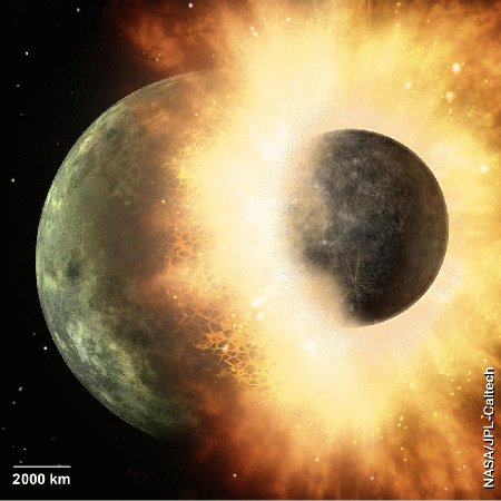 Dessin d'artiste montrant le début de la collision tangentielle entre la Terre (à gauche) et Théia (à droite)