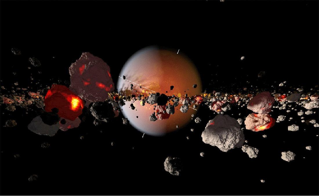 Image d'artiste montrant les fragments de Théia et du manteau terrestre en orbite autour de la Terre en train de se ré-accréter pour former la Lune