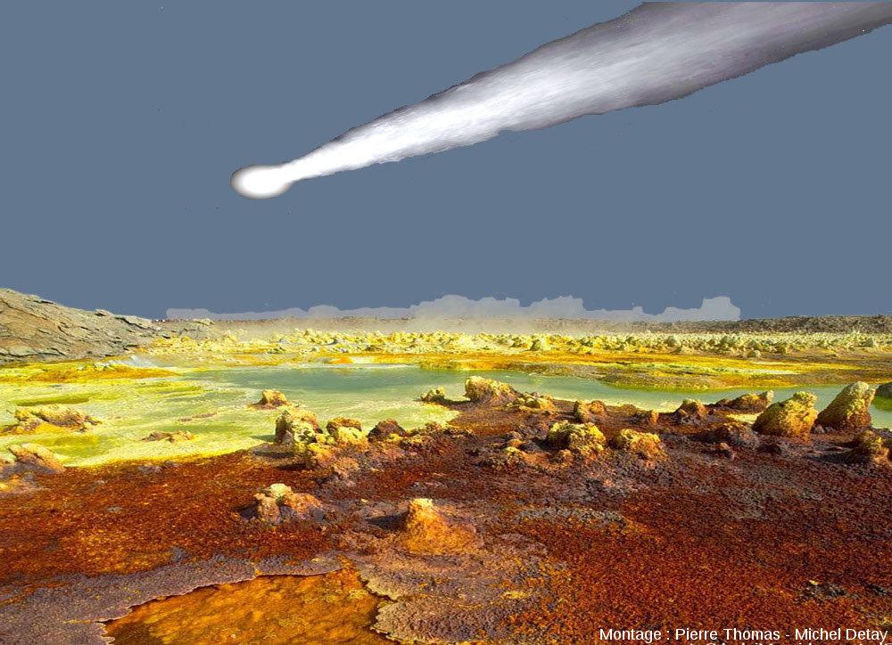 Montage regroupant une comète (théorique) et champ géothermal actuel, analogie lointaine de ce à quoi pouvaient ressembler les terres émergées il y a 4Ga, époque à laquelle la vie est apparue