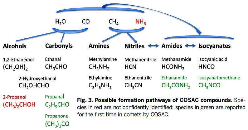 Voies chimiques possibles pour former les molécules trouvées sur la comète Churyumov-Gerasimenko à partir des constituants de base des comètes