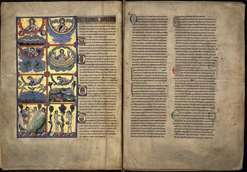 Pages 5 et 6 d'une bible sur parchemin du XIIe siècle, dite Bible de Souvigny, actuellement conservée à la médiathèque communautaire de Moulins, Allier