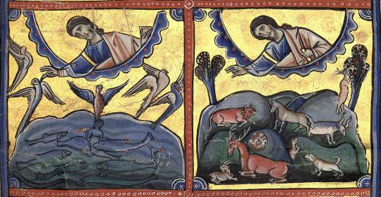 Détail de la 3e ligne de la page de gauche de la figure précédente illustrant la Genèse dans la Bible de Souvigny