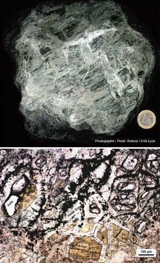 Échantillon de serpentine (en haut) ramassé dans une ophiolite alpine, et lame mince (en bas), vue en LPNA, effectuée dans la carotte du forage U1309D