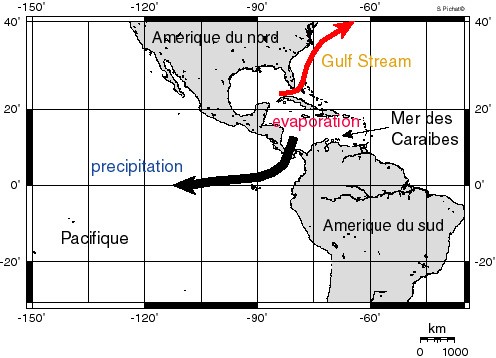 Précipitations à travers l'isthme de Panama