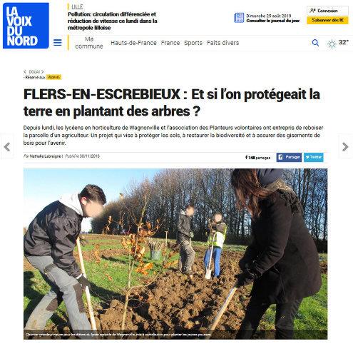 Article de La Voix du Nord relatant des plantations d'arbres par des lycéens du département du Nord