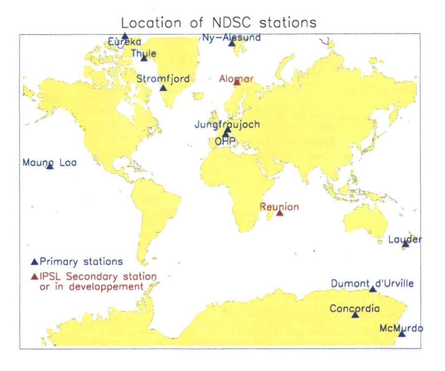 Répartition des stations du réseau NDSC