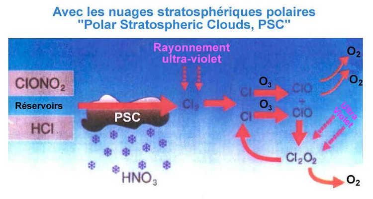 En présence de PSC, les molécules réservoirs sont cassées par réactions gaz/liquide ou gaz/solide (chimie hétérogène) à la surface des cristaux formant les PSC. Il y a libération de chlore actif, destructeur d'ozone