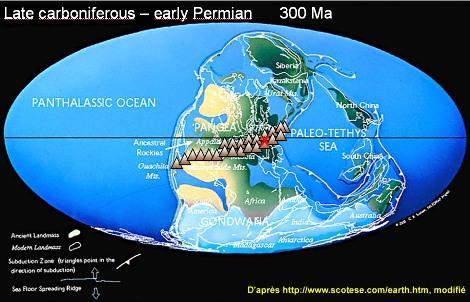 Reconstitution paléogéographique du Carbonifère terminal - Permien inférieur