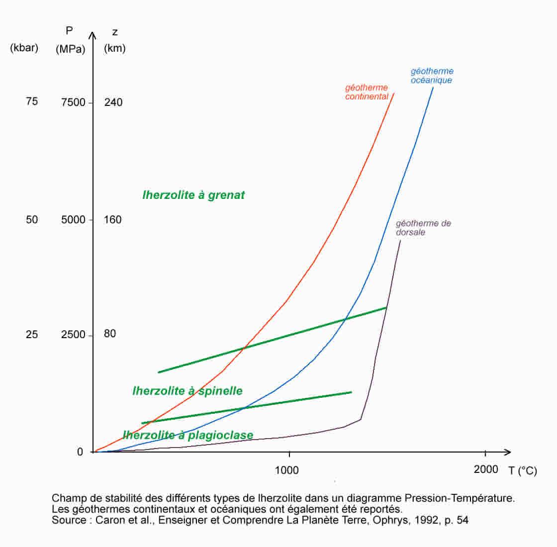 Champs de stabilité des différentes péridotites