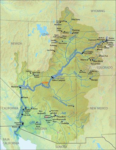 Carte des principaux barrages dans le bassin versant du Colorado