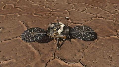 Dessin de la NASA replaçant la sonde Phoenix dans son contexte morphologique sur Mars
