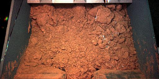 La «pelle» du bras robotisé de Phoenix contenant une première pelletée de sol martien