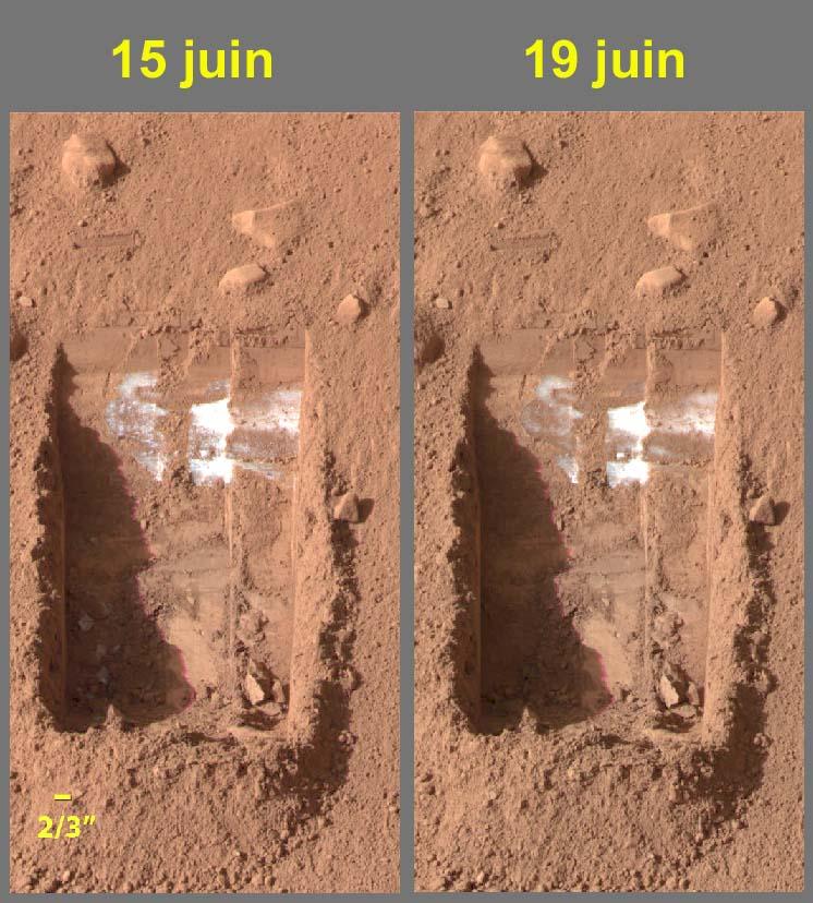 """2 vues séparées de 4 jours martiens des tranchées """"Dodo-Goldilocks"""", Phoenix (Mars)"""