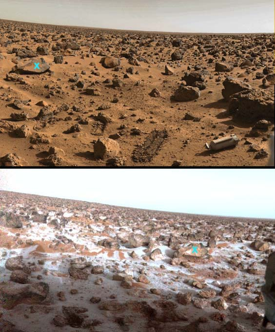 Le paysage martien vu par Viking 2: l'été (en haut) et un matin d'hiver (en bas), par 48° lat. Nord