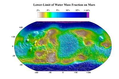 Carte indiquant la pourcentage minimal d'eau (moyenne annuelle) dans le premier mètre du sous-sol de Mars
