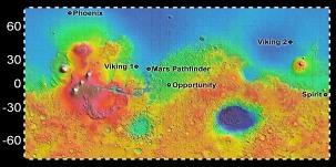Mars, sites où se sont posées (avec succès) les sondes Viking 1 et 2 (1976), Pathfinder (1997), Spirit et Opportunity (2004), Phoenix (2008)