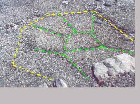 Équivalent terrestre des sols polygonaux emboîtés entourant Phoenix (vallée d'Escreins, Hautes Alpes)