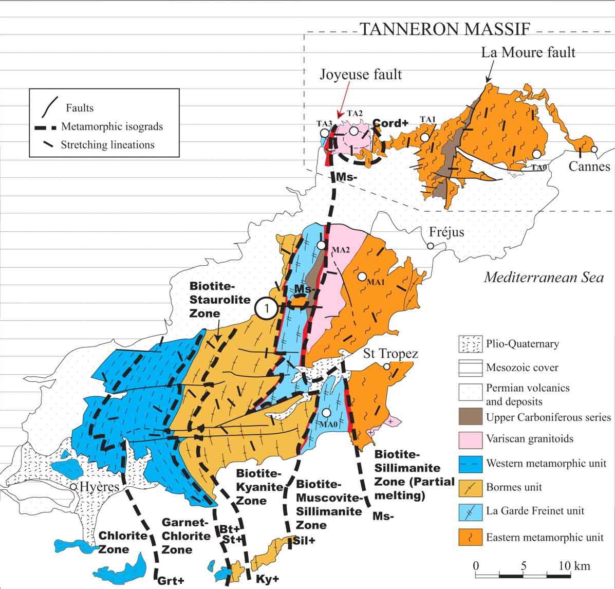 Carte métamorphique du massif des Maures-Tanneron