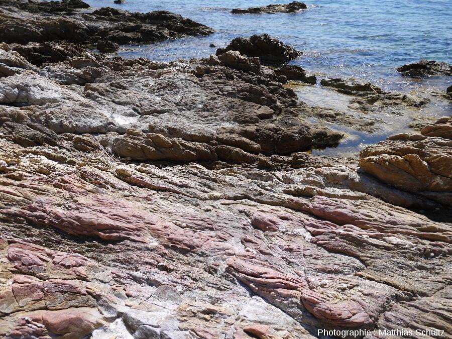 Divers faciès de phyllades sur le littoral près de Brégançon