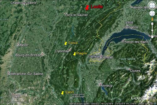Localisation du village de Loulle dans le Jura