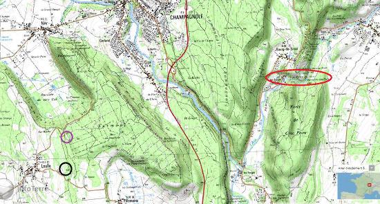 Localisation précise des deux sites géologiques du village de Loulle dans le Jura