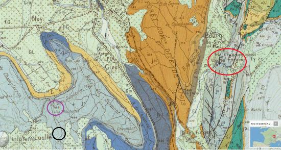 Localisation des sites géologiques de Loulle (Jura) sur fond de carte géologique du secteur