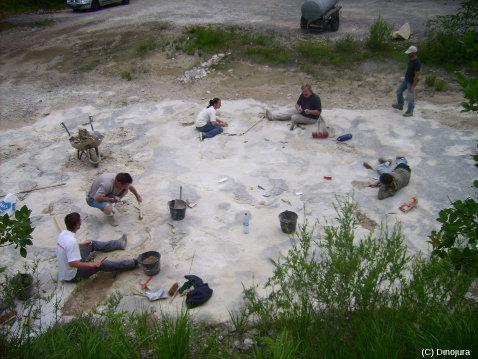 Vidage du remplissage sédimentaire des empreintes de dinosaures lors des fouilles du site de Loulle (Jura)