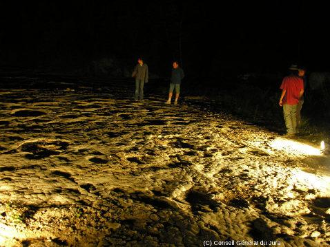 Repérage nocturne des empreintes de dinosaures en lumière rasante lors des fouilles du site de Loulle (Jura)
