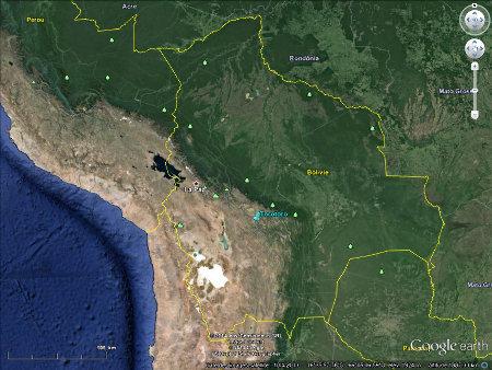 Localisation du site de Torotoro, Bolivie