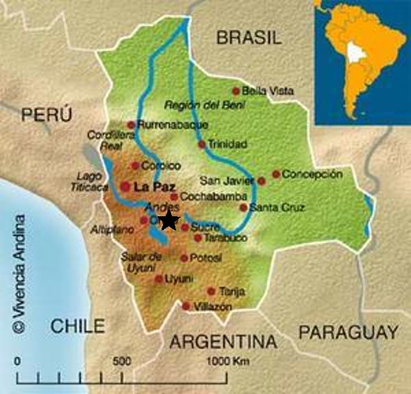 Carte de localisation (étoile noire) de Torotoro, Bolivie