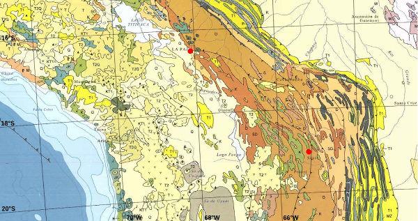 Géologie du centre Ouest de l'Amérique du Sud, centrée sur la Bolivie