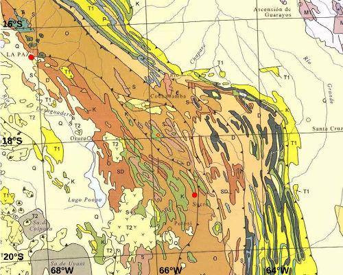 Géologie de la région environnant le site de Torotoro, Bolivie