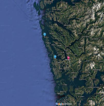 Localisation des iles de Lyngøyna et de Sotra sur la côte Sud-Ouest de la Norvège, près de la ville de Bergen