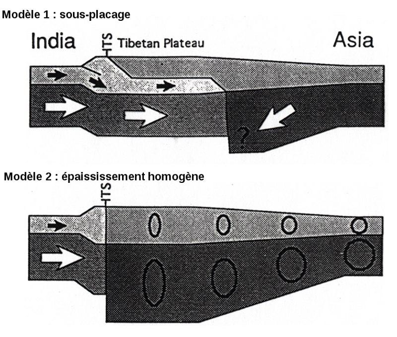 Modèles possibles de formation du plateau tibétain