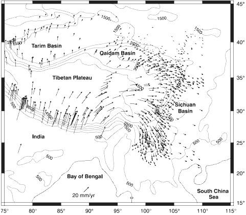 Mouvements absolus du plateau du Tibet et de l'Himalaya mesurés par GPS, avec l'Eurasie comme référence fixe