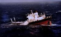 Partie arrière de l'Erika en cours de naufrage (1999)