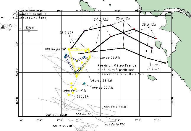 Répartition des nappes observées par les avions des Douanes et de la Marine et exploitation des prévisions de dérive fournies par Météo France dans les synthèses du Cedre aux autorités le 23 décembre 1999