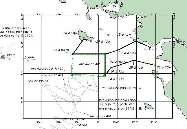 Répartition des nappes observées par les avions des Douanes et de la Marine et exploitation des prévisions de dérive fournies par Météo France dans les synthèses du Cedre aux autorités le 24 décembre 1999