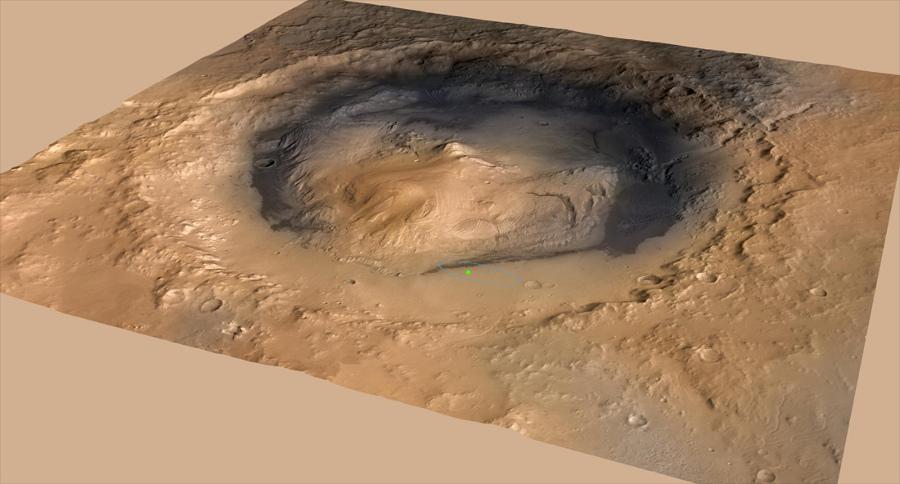 Vue oblique du cratère Gale, ellipse où était prévu l'atterrissage (en bleu) et point (vert) localisant exactement le site d'atterrissage de Curiosity