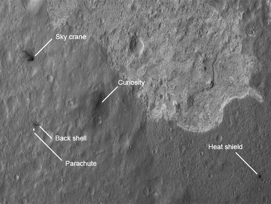 Vue détaillée (MRO) du site d'atterrissage de Curiosity