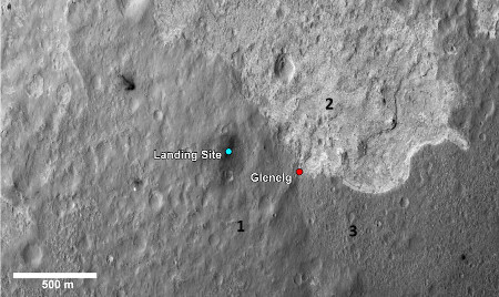 Le point nommé Glenelg, premier objectif scientifique de Curiosity