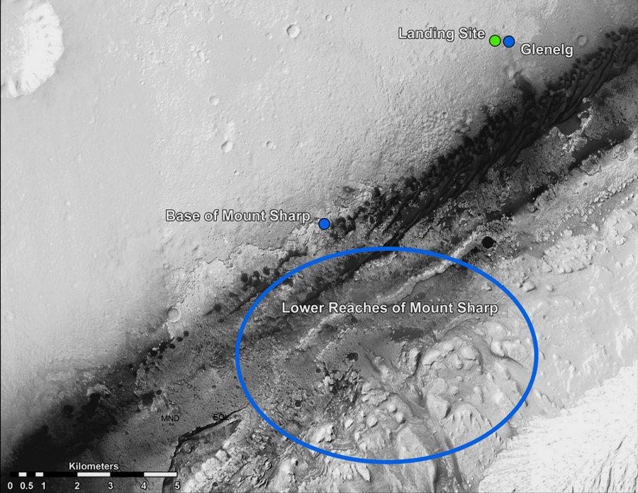 But à moyen terme de Curiosity, la base du Mont Sharp, dans un secteur où la topographie en permettra a priori l'ascension