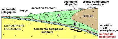 Coupe schématique d'une zone de subduction au niveau d'une marge active présentant un prisme d'accrétion océanique
