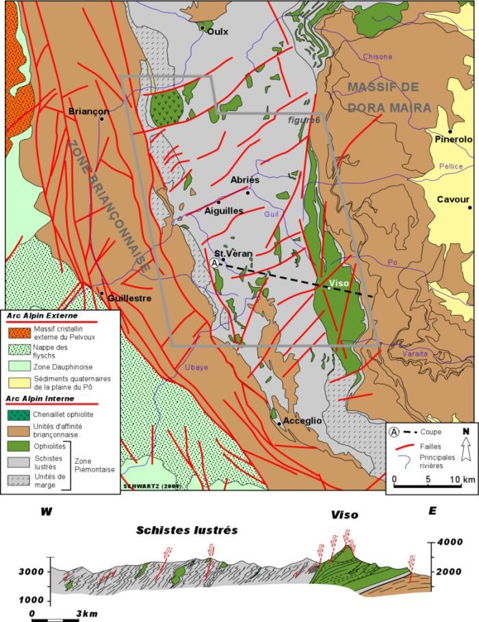 Carte et coupe géologique de la partie sud des Alpes occidentales