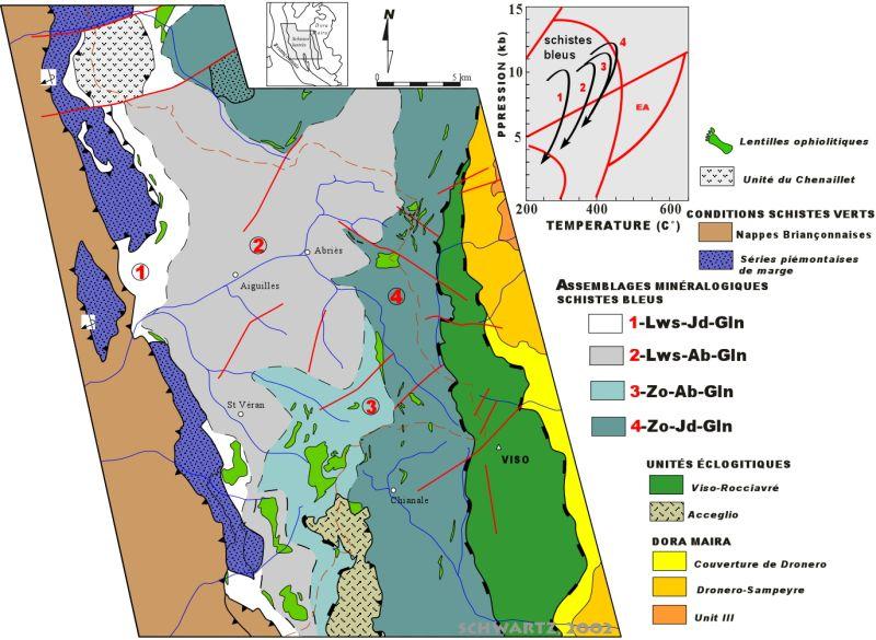 Carte des conditions métamorphiques dans les Schistes lustrés d'après l'observation de différents assemblages minéralogiques au sein des lithologies basiques