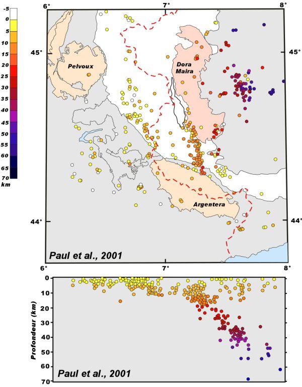 Carte de localisation des séismes après inversion 3D sur une carte structurale simplifiée et sur coupe ouest-est.