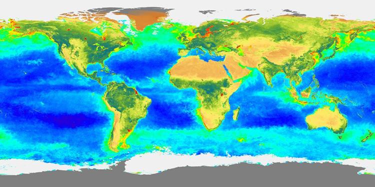 Carte de la répartition de biosphère globale durant l'automne 1997 (sept-vov. 97)