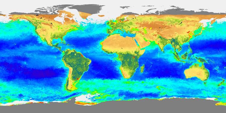 Carte de la répartition de biosphère globale durant l'hiver 1997-1998 (déc.97-fév. 98)